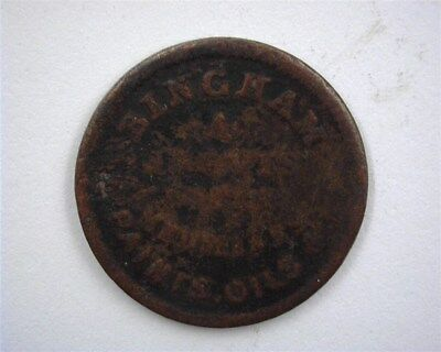 1863 Cooperstown, Ny -Paints, Oils & Iron Clad- Hard Times Token Vg Rare!