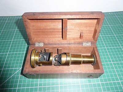 Small brass drum microscope with hardwood case