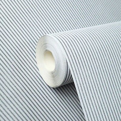 15m vinyl Wallpaper stripes textured modern lines wall coverings roll White Grey