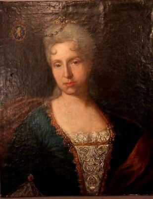 18thC Antique ENGLISH COLONIAL Era LADY Princess TIARA Jewelry PORTRAIT PAINTING