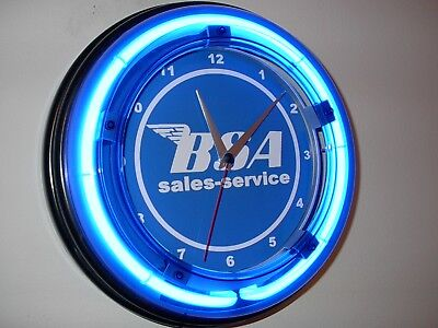 *** BSA Motorcycle Garage Mechanic Man Cave Blue Neon Wall Clock Sign