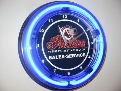 *** Indian Motorcycle Garage Man Cave Blue Neon Wall Clock Sign