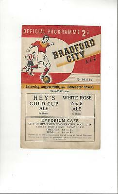 Bradford City v Doncaster Rovers Football Programme 1949/50