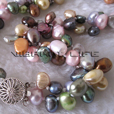 "18"" 6-8mm Multi Color 2Row Baroque Freshwater Pearl Necklace Jewelry U"