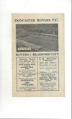 Doncaster Rovers v Bradford City  Football Programme 1946/47
