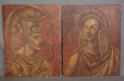 Pair (2) Vintage MID CENTURY Era ROMAN GOD & GODDESS Man Lady PORTRAIT PAINTING