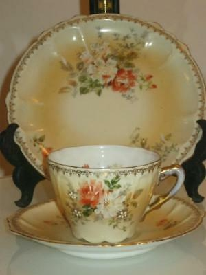 STUNNING, ANTIQUE 19th CENTURY HANDPAINTED PORCELAIN CUP, SAUCER & SIDE PLATE