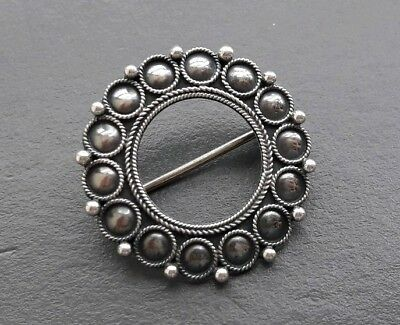 Lovely Classic Antique Vintage Scandinavian Round Solid Sterling Silver Brooch