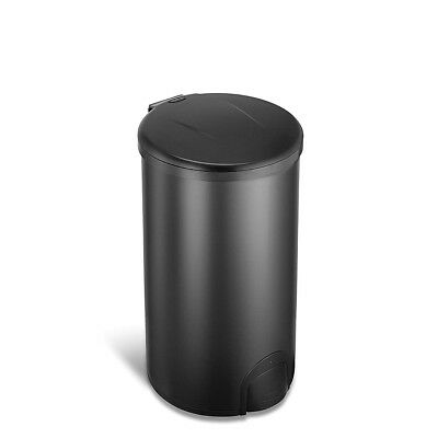 Ninestars Automatic Tap Sensor 12 Gal 45L Black Stainless Steel Round Trash Can