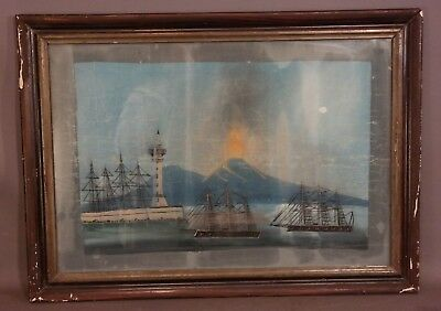 Antique VICTORIAN SEASCAPE Old VOLCANO & LIGHTHOUSE CLIPPER SHIP Oil PAINTING