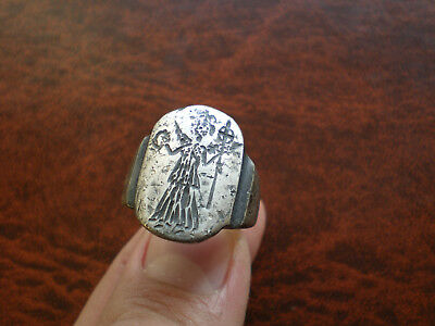 Ancient Roman Silver Ring With Goddess Victoria
