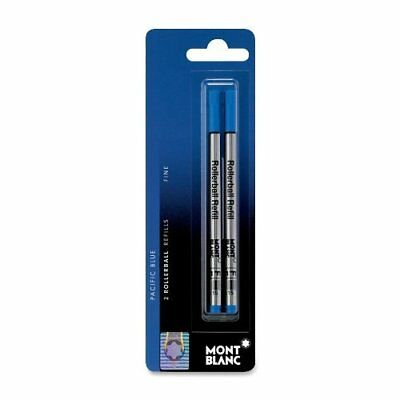 1 Pack, GENUINE - MONTBLANC Rollerball Pen Refills - PACIFIC BLUE - FINE POINT