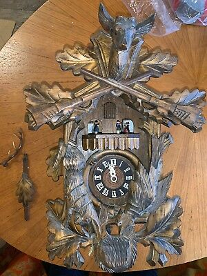 Large Vintage West German Black Forest Musical Hunters Cuckoo Clock