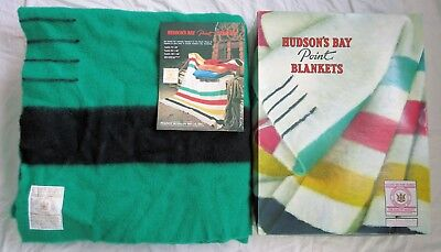 Hudson's Bay Four Point Wool Blanket Green/Black in Original Box