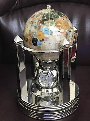 Gemstone Mother Of Pearl Rotating Globe With Clock, Thermometer & Hygrometer