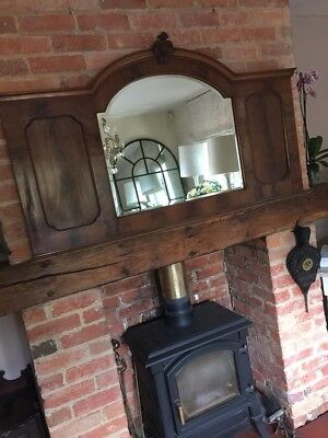 Beautiful Walnut Victorian Antique Over Mantle Mirror Large Lovely Condition