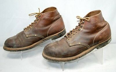 VTG HY TEST Steel Toe Leather Ankle Work Boots Brown Men's 9 M  9.5 M