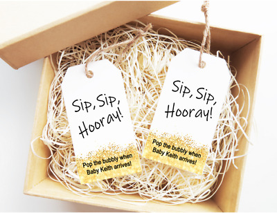 15x Personalised Baby Shower Labels Tags Wine Tags Sip Sip Hooray Wine Tags