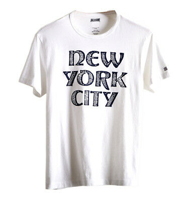 American Eagle Tailgate Mens White & Blue NYC Graphic Tee Shirt Large L 3192-5