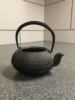 """5"""" Long Marked Vintage Japanese Cast Iron Small Hobnail Pattern Teapot Kettle"""