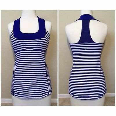 559ab31971 VGC Lululemon Mesh T Back Tank Top w  Sports Bra BLUE WHITE 6 SMALL MSRP