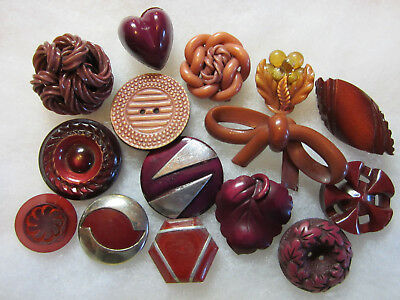 Nice Lot Vintage Maroon Colored Celluloid Buttons/ Chrome Accent +