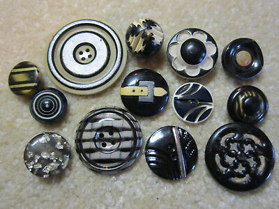 Lot Vintage Black & White Celluloid Buttons/ Small To Large Sizes