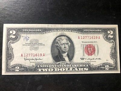 1963 $2 Two Dollar Bill Red Seal CRISP A12771619A Series A