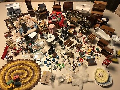Large lot of Vintage Dollhouse Furniture and Accessories.  Preowned.