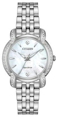 New Citizen Eco-Drive Jolie 30Mm Blue Mother Of Pearl Diamond Bezel Em0690-50D