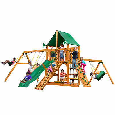 Gorilla Playsets Frontier Swing Set With Wood Roof Malibu Wood Roof