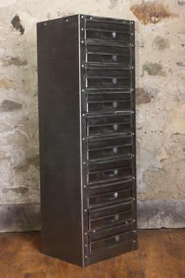 Vintage Industrial Stripped Metal 10 Drawer  Filing Cabinet Haberdashery Drawers