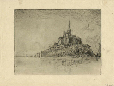 Mont-Saint-Michel - Etching by an unknown artist - France