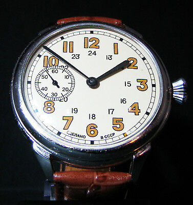 Vintage 1939 Soviet WWII Era Air Force Big Pilot Wristwatch