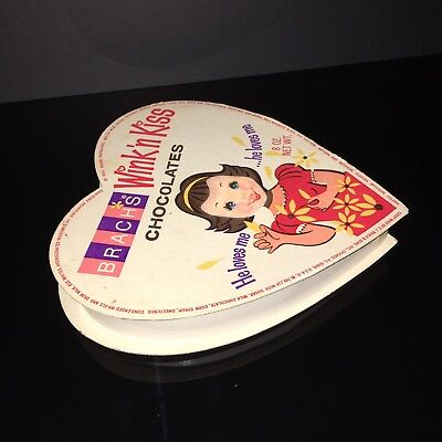 Rare Vintage 1969 Wink-n-Kiss Valentine Candy Box w Heart Shape Refracting Image