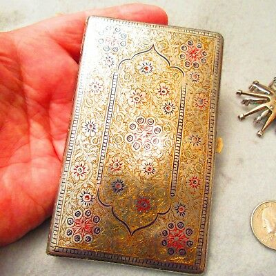 "Fantastic Antique 3"" x 5"" German Silver Engraved Enameled Cigarette Case"