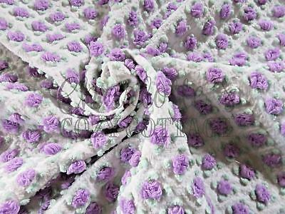 Amethyst Rosebud Morgan Jones Vintage Chenille Bedspread Rose Fabric Piece 25x25