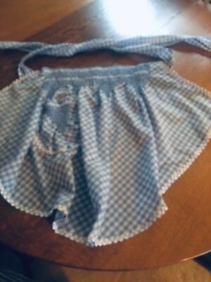New Vintage Lt Blue & White Gingham Handmade Apron W/ Smocking & Rick Rack Trim