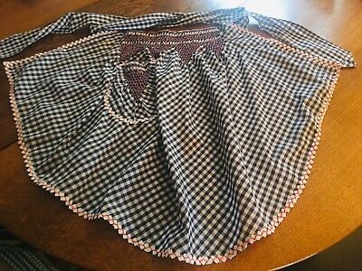 New Vintage Black & White Gingham Handmade Apron With Smocking & Rick Rack Trim