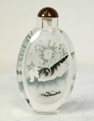 Large Antique Chinese Glass Snuff Bottle. Reverse Hand painted Cats Butterfly