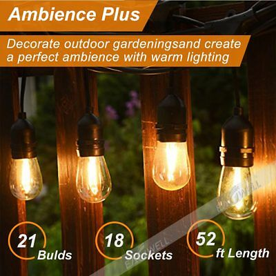 52FT S14 LED Bulbs Waterproof Commercial Grade Outdoor Patio String Lights Lamps