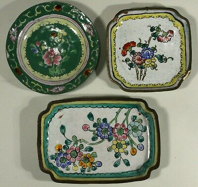 Lot/3 Antique Floral Enamel Trays /China