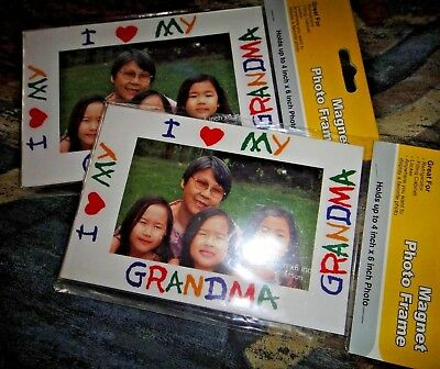 "NWT lot of 2 I heart love MY GRANDMA magnet photo frames up to 4x6"" pictures"