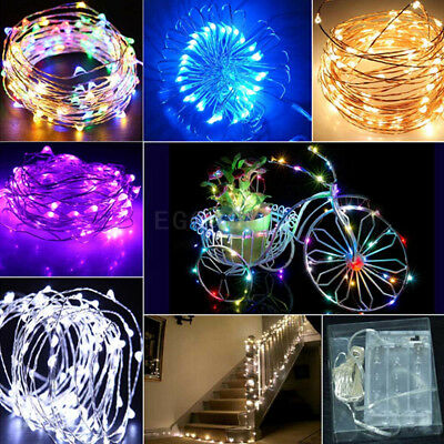 10M 100 LED Christmas AA Battery Silver Wire String Lights Party Xmas Tree Decor