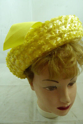 Vintage Ladies Yellow Straw Hat with Ribbon Fancy Church Holiday Womens Cap