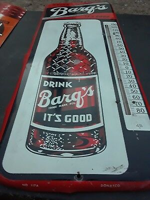 """VINTAGE 1950s BARQ'S ROOT BEER ADVERTISEMENT THERMOMETER 25"""""""