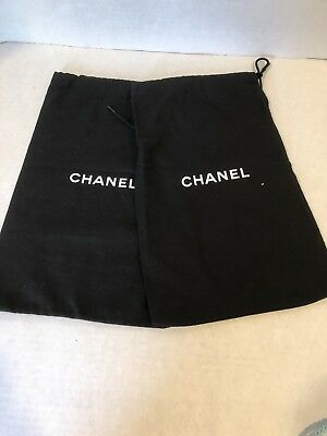 """Two CHANEL Dust Bag for Flats Shoes or Clutch Purse 8 x 12.3/4"""""""