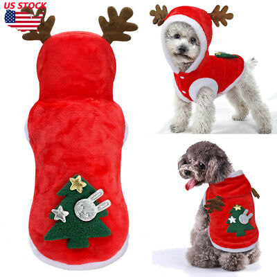 Pet Red Christmas Sweater Warm Furry Elk Puppy Clothes Xmas Costume for Dog Cat