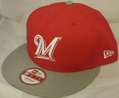 5a8cc356 ... wholesale nwt new era milwaukee brewers wi red gray 9fifty snapback  adjustable mlb cap hat eba3d