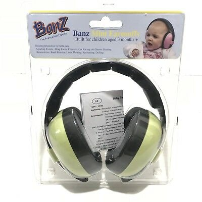 Banz Baby Hearing Protection Mini Earmuffs Light Green for Children Age 3 Months